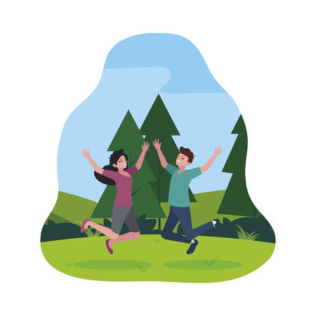 happy young couple celebrating in the camp vector illustration design Иллюстрация