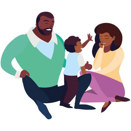 black parents couple with son vector illustration design Ilustração