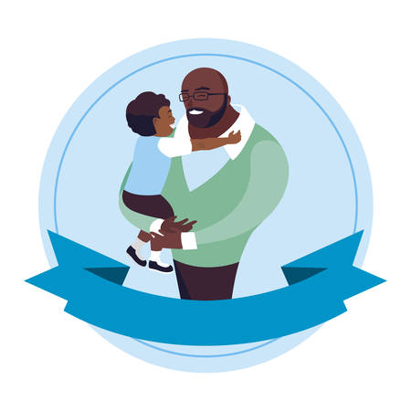 afro father with son characters in frame vector illustration design
