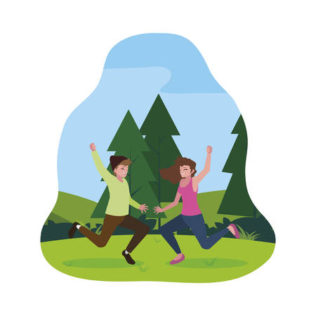 happy young couple celebrating in the camp vector illustration design 向量圖像