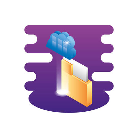 folder documents data with cloud computing vector illustration design Stock Illustratie