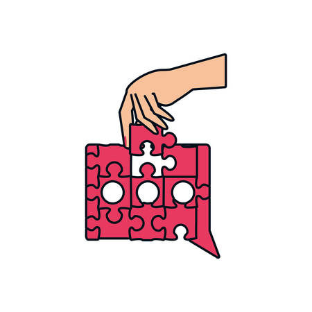 hand with puzzle pieces in shape speech bubble vector illustration design