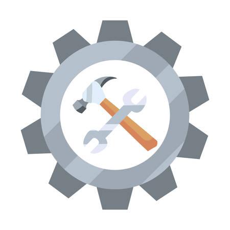 wrench and hammer gear tool vector illustration design Ilustração