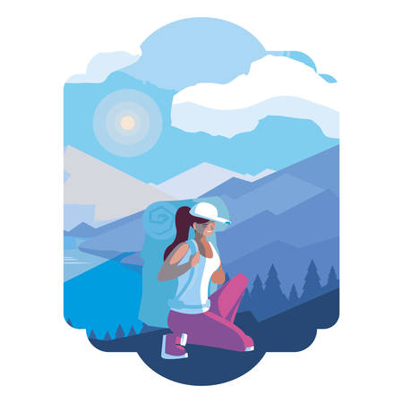 adventurous woman with travelbag in the snowscape vector illustration design Ilustracja