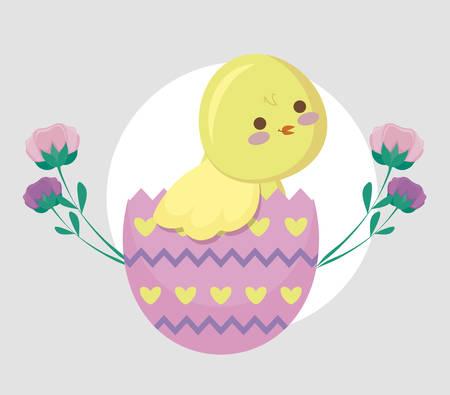 cute chicken in egg broken and flowers vector illustration design