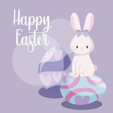 cute rabbit female with eggs of easter vector illustration design Illusztráció