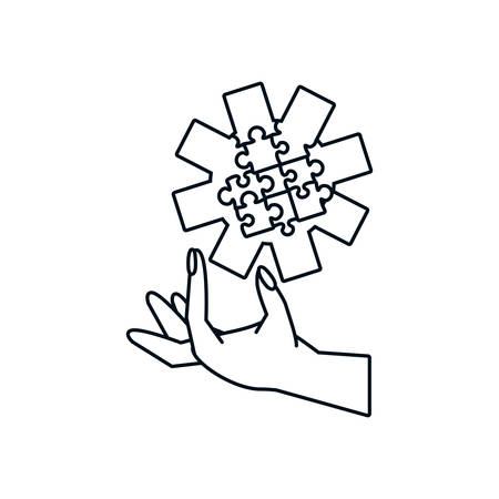 hand with puzzle pieces in shape pinion vector illustration design