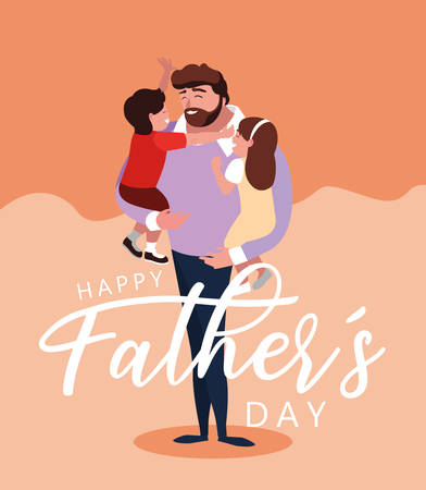 happy father day card with dad and children vector illustration design Çizim