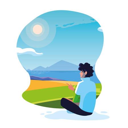 man seated observing landscape with lake vector illustration design 向量圖像