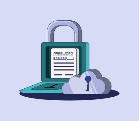 data security files icon vector illustration design Çizim