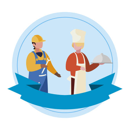 couple of professional workers with ribbon frame vector illustration design