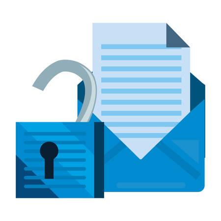 email unlock communication cybersecurity data protection vector illustration Ilustracja