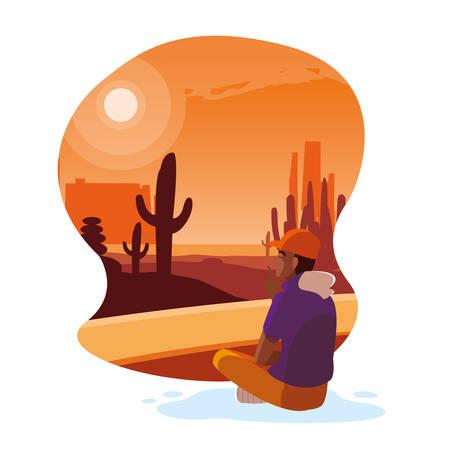 afro man seated observing desert landscape vector illustration design