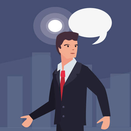 businessman speech bubble labour day vector illustration