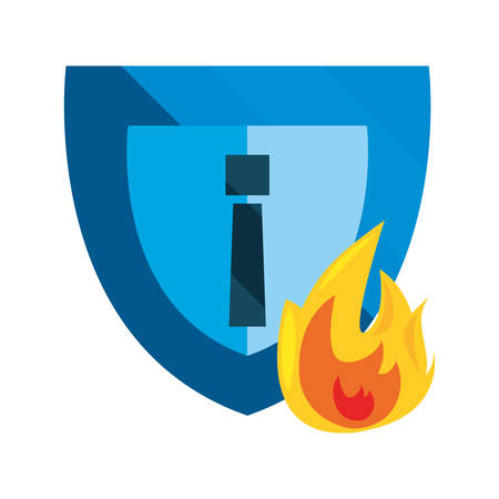 shield fire cybersecurity data protection vector illustration Ilustrace