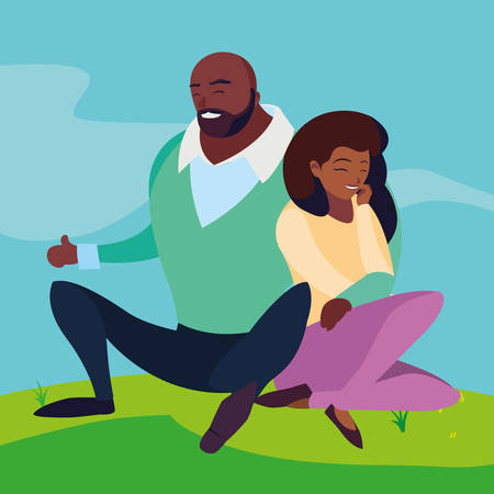 black couple seated in the field vector illustration design Banque d'images - 131852427