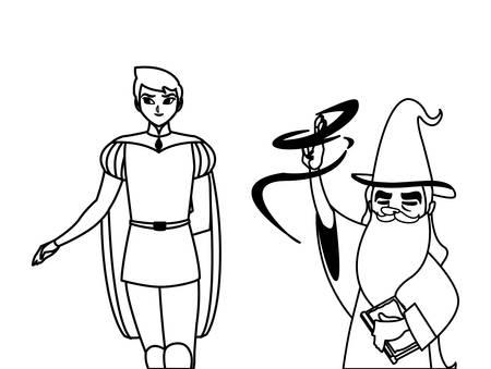 książę z bajki i czarodziej bajek postacie ilustracji wektorowych projekt