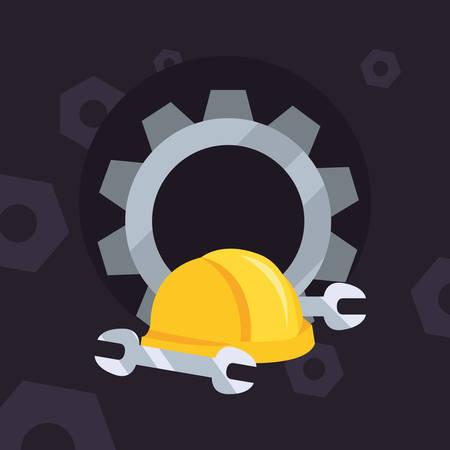 helmet gear wrenches background vector illustration design