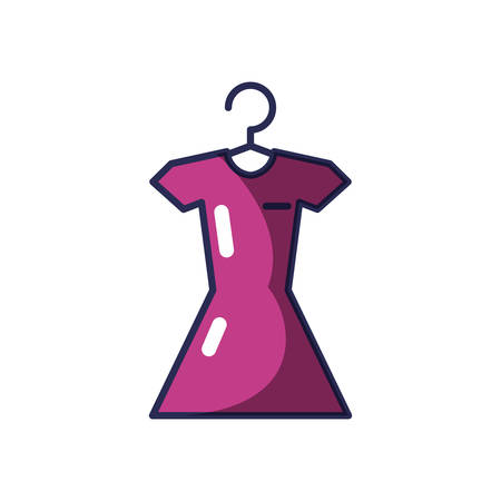 dress female hanging in clothespin vector illustration design  イラスト・ベクター素材