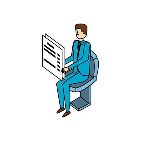 businessman worker with documents vector illustration design Фото со стока - 131855635