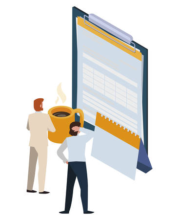 mini business people with clipboard and set office icons vector illustration design 스톡 콘텐츠 - 131855637