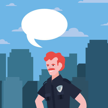 policeman speech bubble city street building urban vector illustration