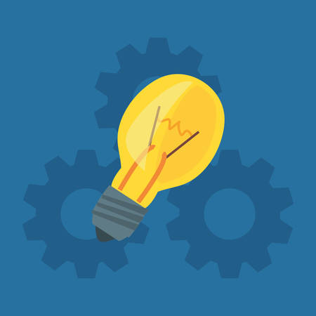bulb gears work creativity vector illustration design Иллюстрация
