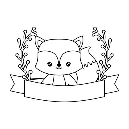 cute fox with ribbon and branches of leafs vector illustration design Ilustrace