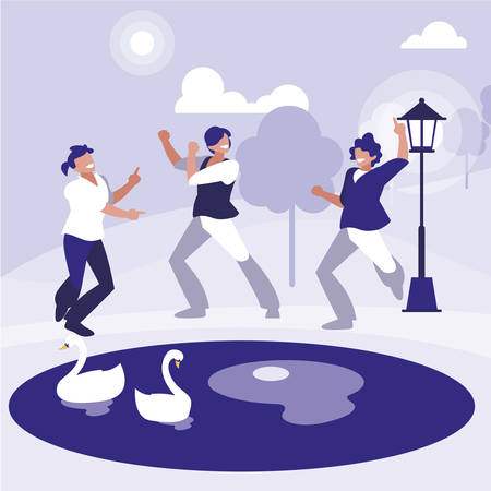young dancers group dancing in the park vector illustration design Çizim