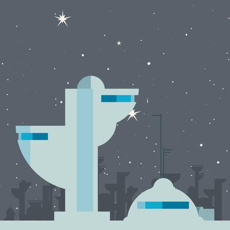 future building architecture city space vector illustration design Illusztráció