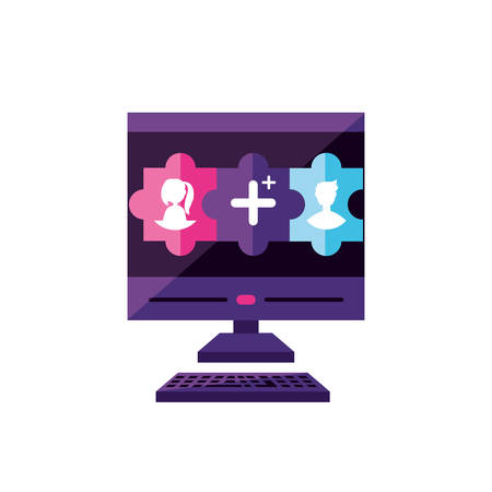 desktop with contacts manager app vector illustration design Çizim