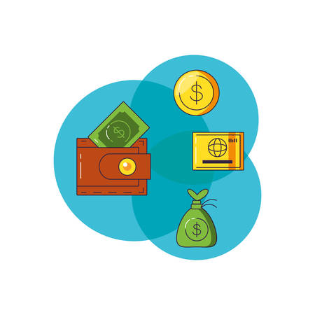 wallet with bill dollar and set icons vector illustration design