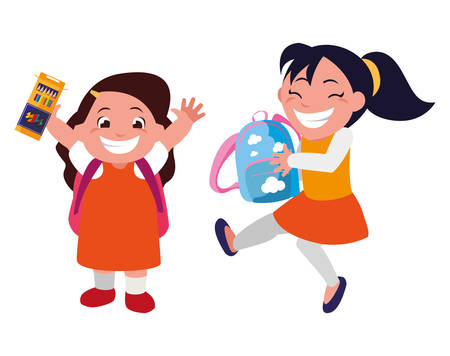 happy little school girls characters vector illustration design