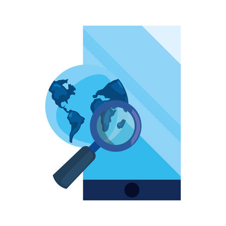 smartphone world magnifier cybersecurity data protection vector illustration