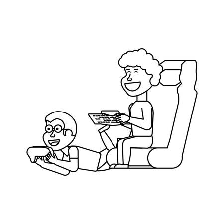 boys playing video game isolated icon vector illustration design Ilustração