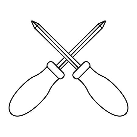 crossed screwdrivers tool vector illustration design image Ilustração