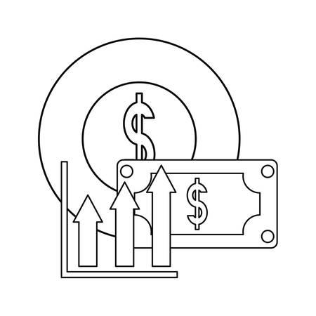 banknote coin money report business vector illustration Ilustração