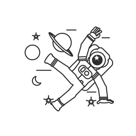 astronaut suit jumping with set icons vector illustration design