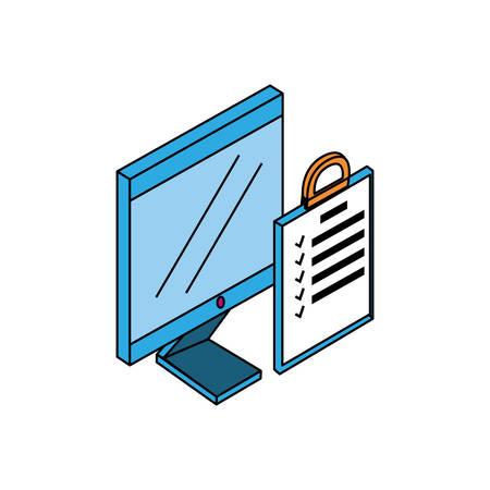 desktop computer with checklist vector illustration design Çizim