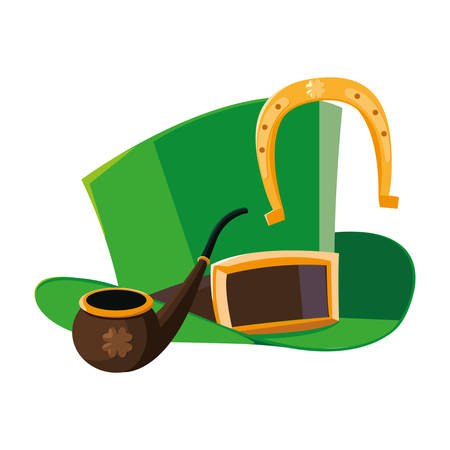 lemprechaun tophat with wooden pipe and horseshoe vector illustration design