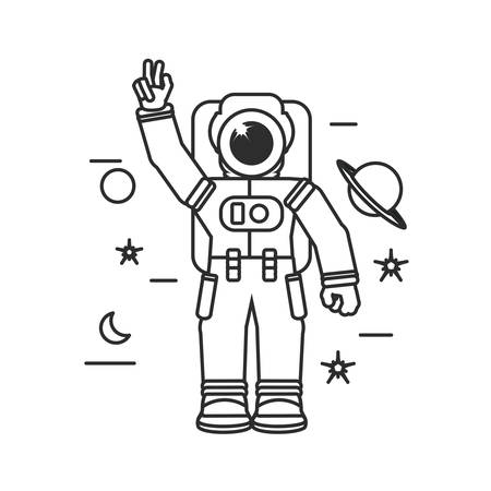 astronaut suit greeting with set icons vector illustration design