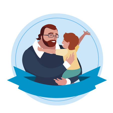 father with son characters in frame vector illustration design Ilustração