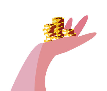 hand with coins stacked money vector illustration