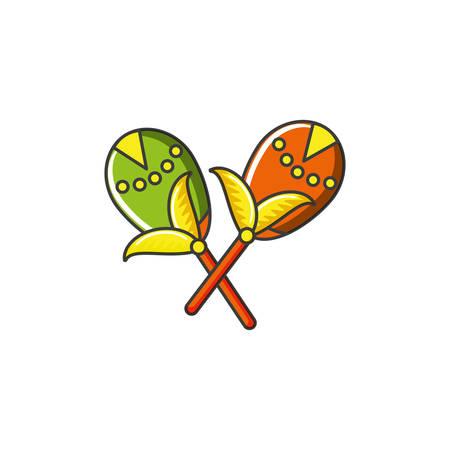 carnival maracas instrument icon vector illustration design  イラスト・ベクター素材