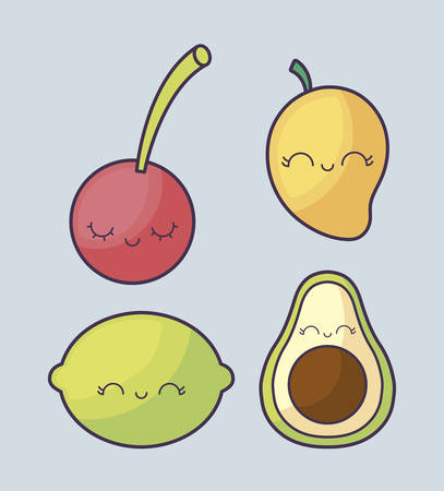 mango with set of fruits character vector illustration design Stock Illustratie