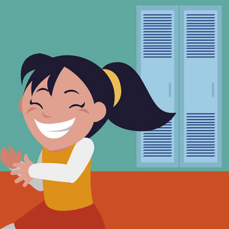 happy little schoolgirl in school corridor vector illustration design 向量圖像
