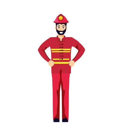 firefighter professional avatar character vector illustration design 일러스트