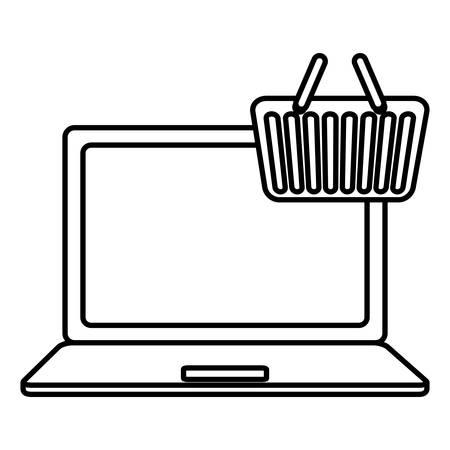 laptop computer with shopping basket vector illustration design
