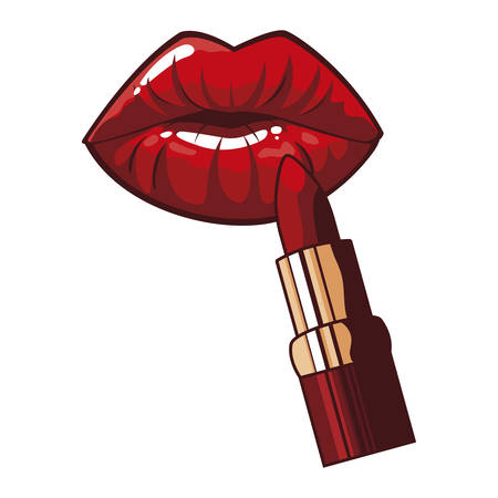 sexy female lips with lipstick pop art style vector illustration design Çizim