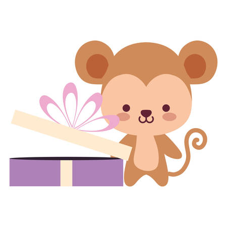 cute and little monkey with gift vector illustration design